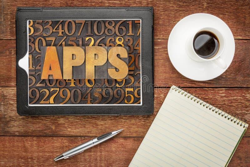 Palavra das aplicações de Apps no tipo de madeira imagem de stock