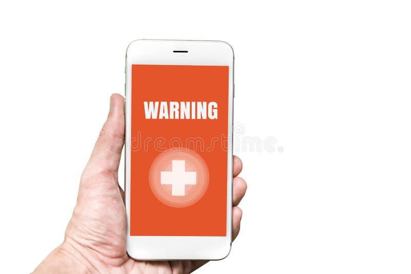 Palavra DE ADVERTÊNCIA da emergência acidental na tela móvel na mão do homem fotos de stock