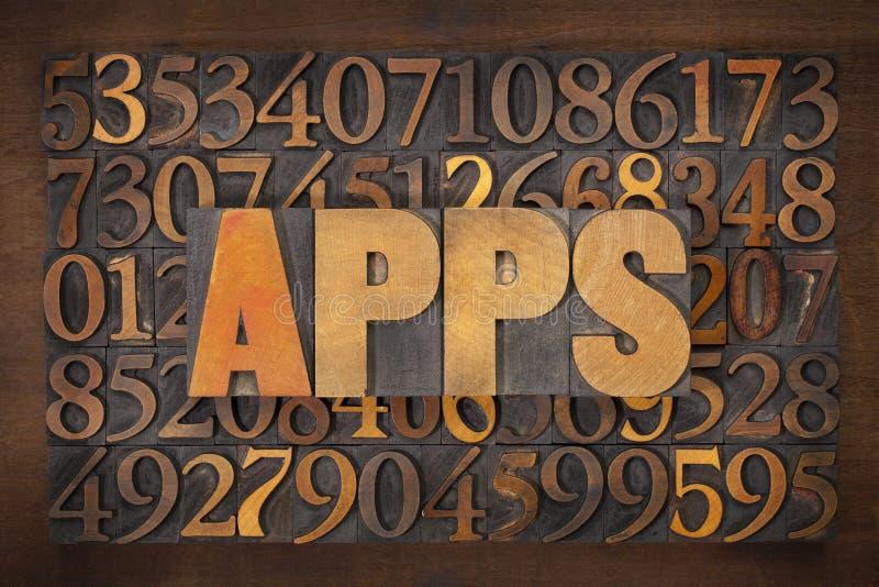Palavra de Apps (aplicações) no tipo de madeira foto de stock royalty free
