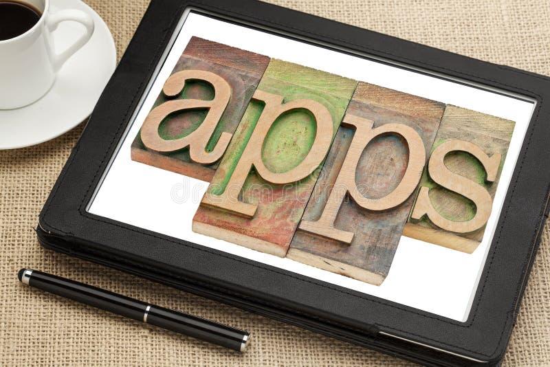 Palavra de Apps na tabuleta digital fotos de stock