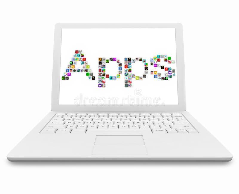 Palavra de Apps no computador portátil branco ilustração royalty free