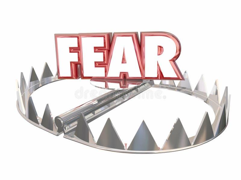 Palavra de armadilha assustado do urso do aviso do perigo receoso do medo ilustração royalty free