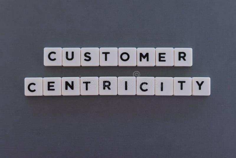 A palavra de Centricity do cliente fez da palavra quadrada da letra no fundo cinzento foto de stock