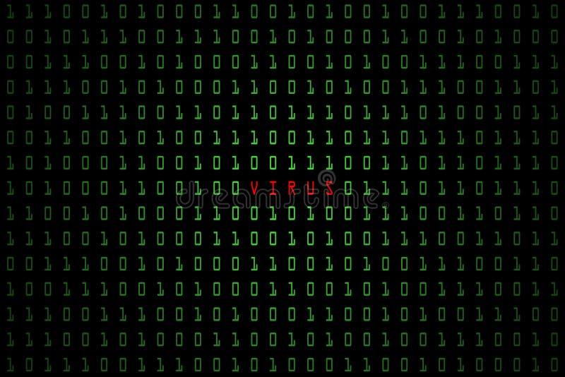 Palavra de computador do vírus com fundo escuro da tecnologia ou preto digital com código binário na luz - cor verde 1001 ilustração do vetor