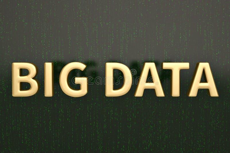 Palavra de dados grande com a tela digital verde ilustração 3D ilustração royalty free