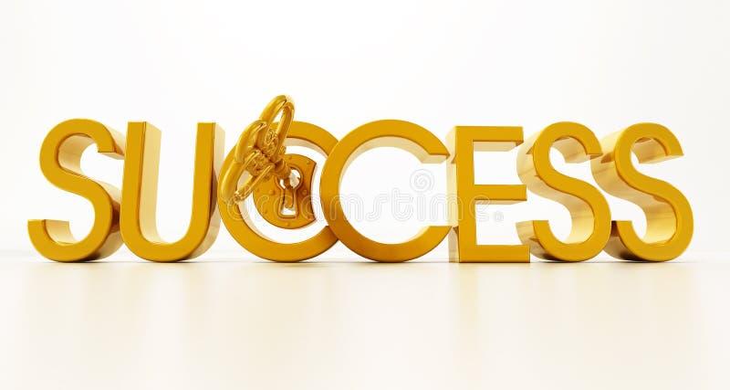 Palavra de destravagem chave dourada do sucesso ilustra??o 3D ilustração royalty free
