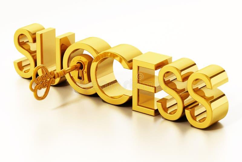 Palavra de destravagem chave dourada do sucesso ilustra??o 3D ilustração stock