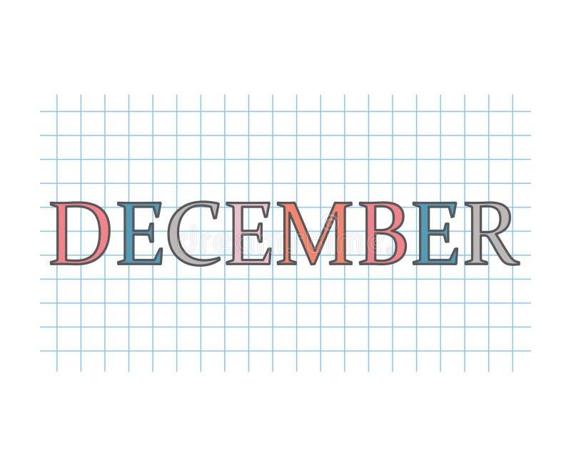 Palavra de dezembro na textura de papel quadriculado ilustração stock