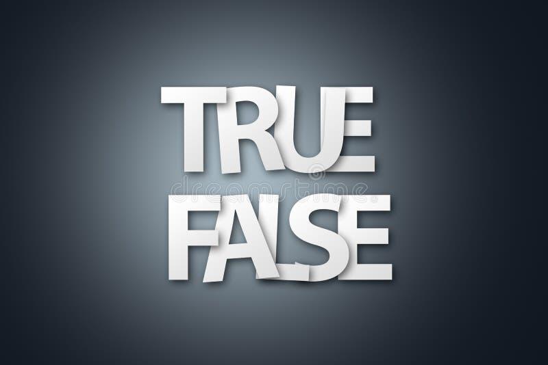 Palavra de falso verdadeiro escrito com letra do Livro Branco ilustração royalty free