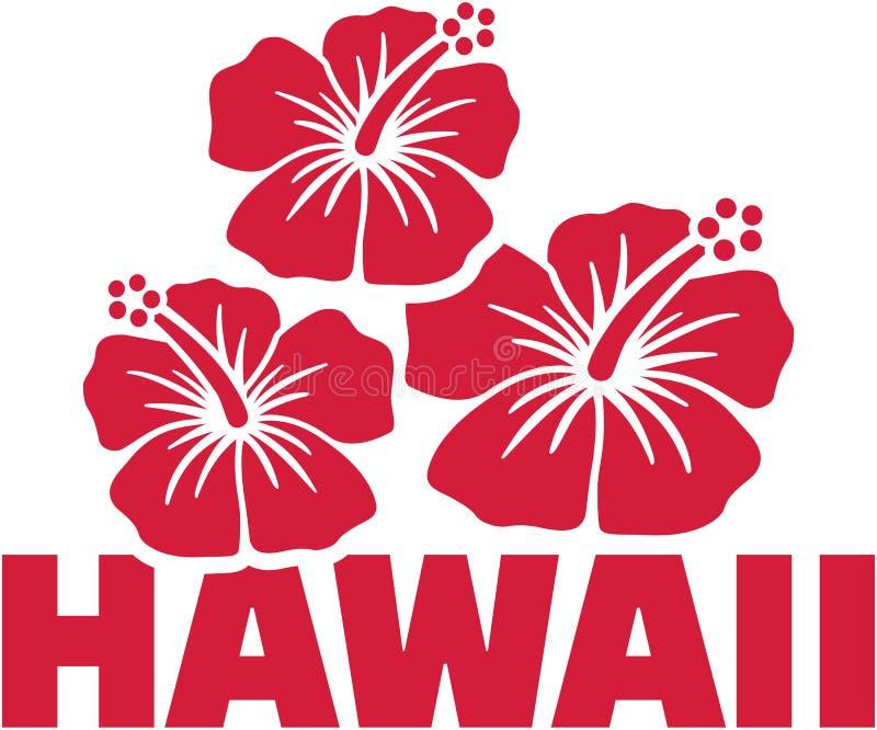 Palavra de Havaí com flores do hibiscus ilustração stock