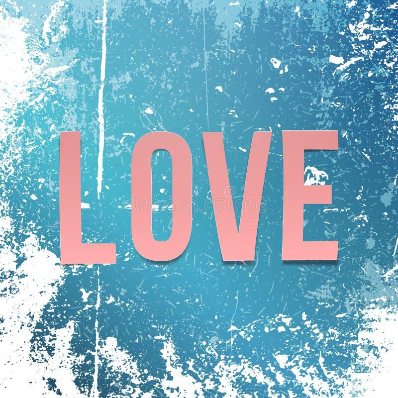 Palavra de papel cor-de-rosa realística do amor na neve e no gelo ilustração stock