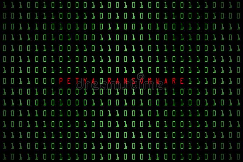 Palavra de Petya Ransomware com fundo escuro da tecnologia ou preto digital com código binário na luz - cor verde 1001 ilustração do vetor