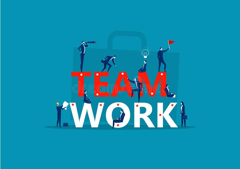 Palavra de trabalho da equipe Pequenas pessoas constamam o trabalho em equipe Criando um projeto de negócios ilustração royalty free
