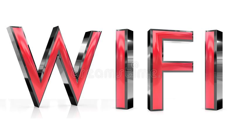 Palavra de Wifi 3d ilustração royalty free