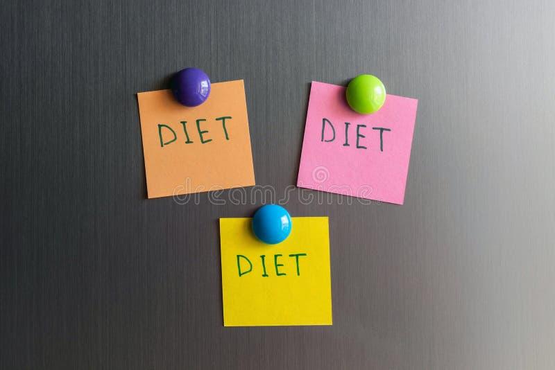 Palavra do álbum de recortes com dieta da palavra no refrigerador Conceito da perda de peso foto de stock