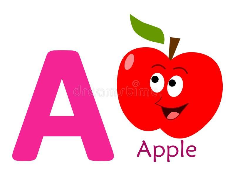 Palavra A do alfabeto LIVRO PARA COLORIR A PARA APPLE ilustração do vetor