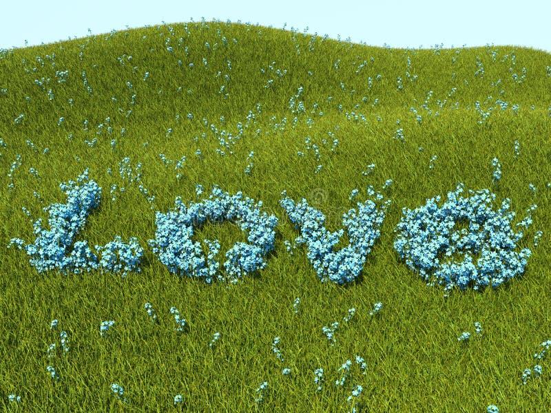 Palavra do amor dos miosótis e grama verde imagens de stock royalty free
