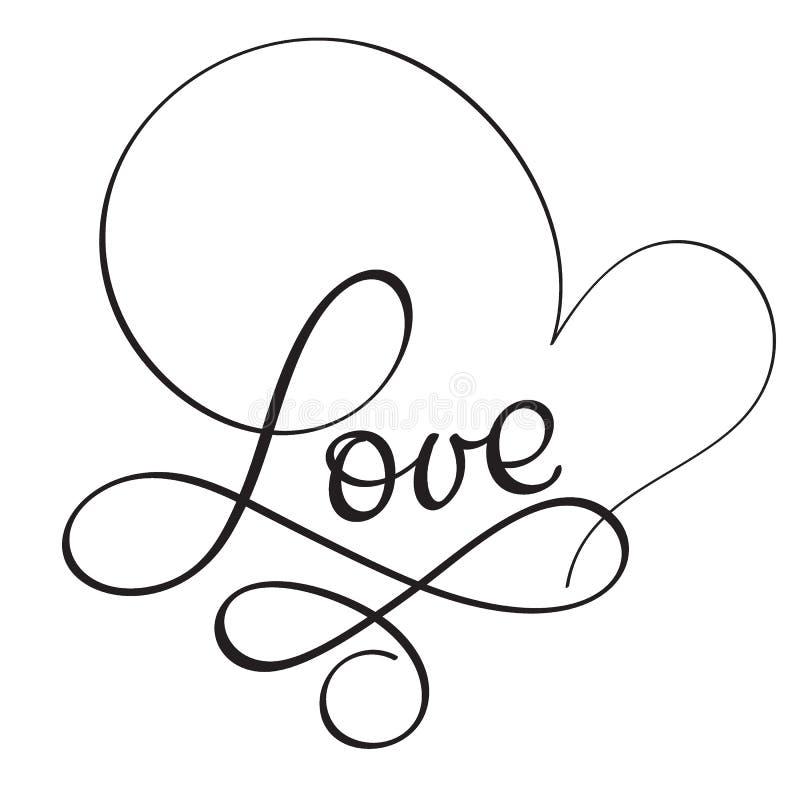 Palavra do amor no fundo branco Ilustração tirada mão EPS10 do vetor da rotulação da caligrafia ilustração stock
