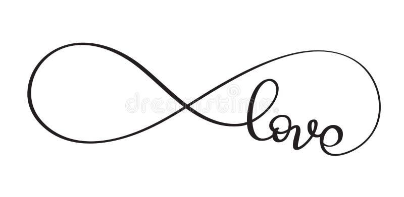 Palavra do amor no sinal da infinidade Caligrafia do vetor e EPS10 da rotulação ilustração do vetor