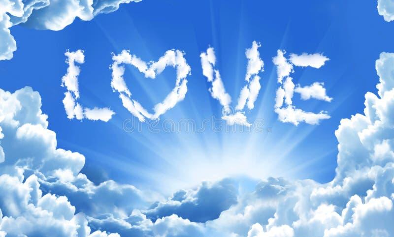 Palavra do amor por nuvens no céu ilustração do vetor