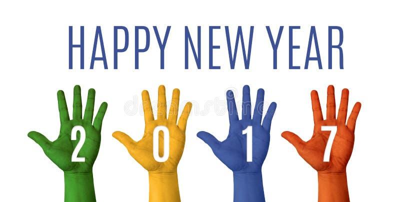 A palavra do ano novo feliz 2017 com mão colorida aumenta acima nos vagabundos brancos fotografia de stock royalty free