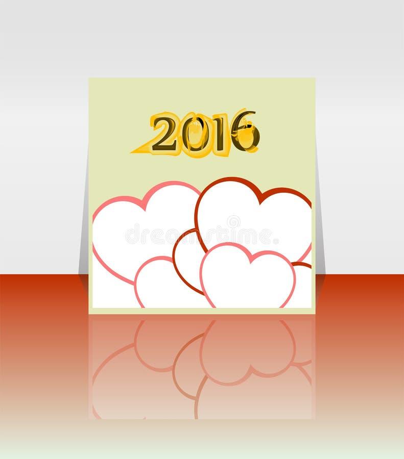 Palavra do ano novo feliz 2016 no livro de nota vazio com forma vermelha do coração, molde do ano novo ilustração royalty free