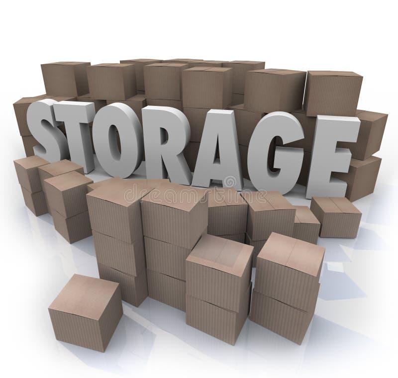A palavra do armazenamento empilha o cacifo do porão das caixas de cartão ilustração stock
