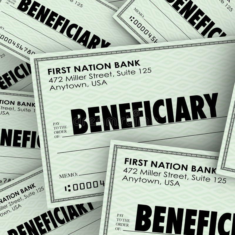A palavra do beneficiário verifica o dinheiro destinatário Inheritan do herdeiro do seguro ilustração stock