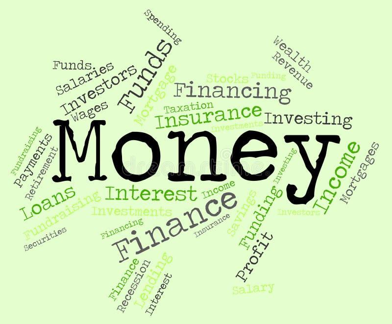 A palavra do dinheiro significa finanças e a prosperidade ricas ilustração stock