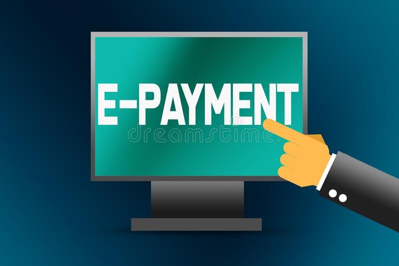 palavra do E-pagamento no tela de computador ilustração do vetor