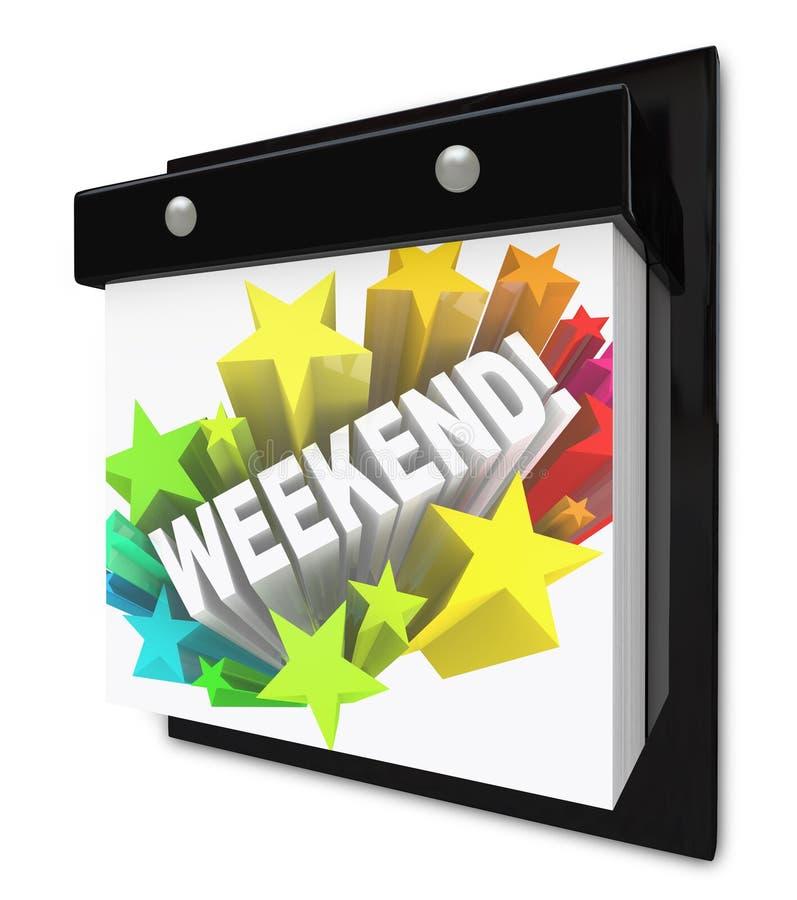 A palavra do fim de semana no divertimento do calendário de parede planeia o tempo fora ilustração stock