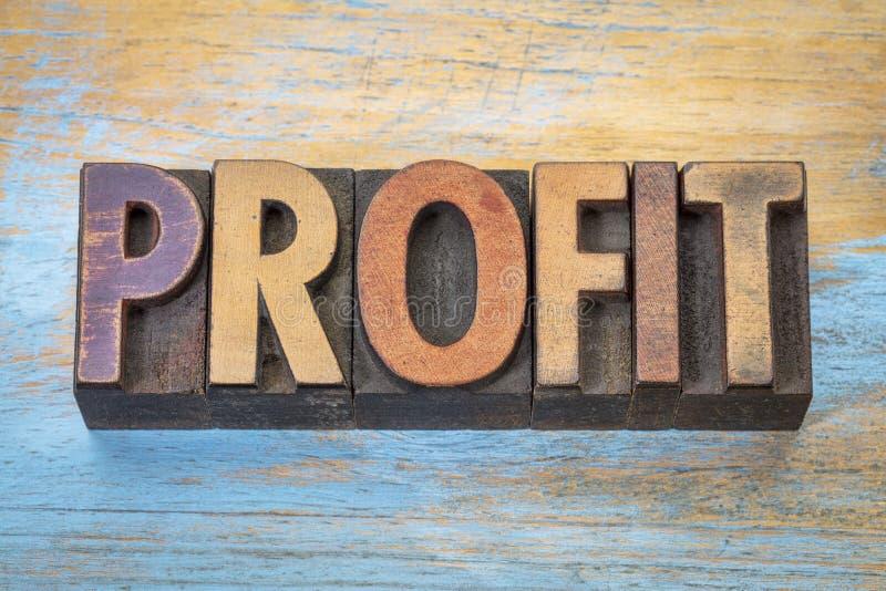 Palavra do lucro no tipo da tipografia fotografia de stock royalty free