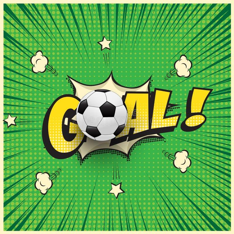 Palavra do objetivo com a bola de futebol realística na ilustração do estilo da banda desenhada Ilustração do futebol do vetor ilustração stock