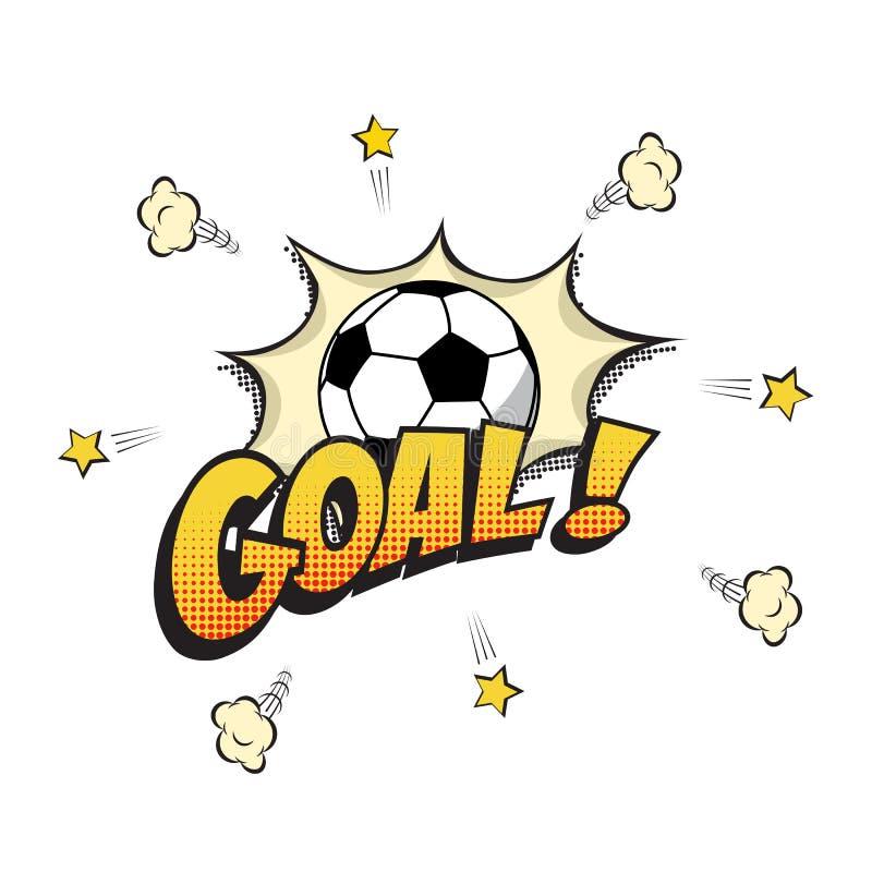 Palavra do objetivo com a bola do futebol no estilo dos desenhos animados ou da banda desenhada Ilustração do vetor ilustração royalty free