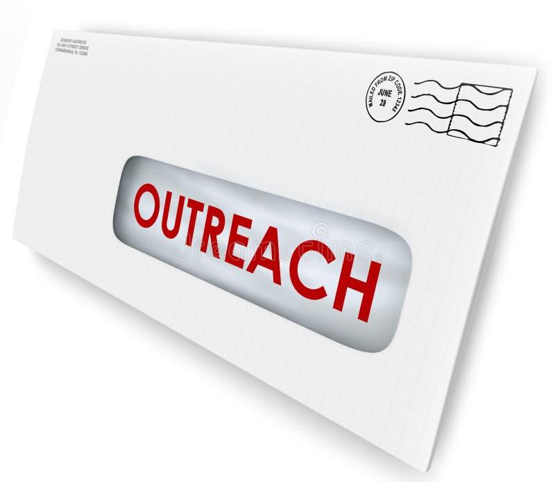 Palavra do Outreach em uma comunicação da propaganda da mensagem do envelope ilustração stock