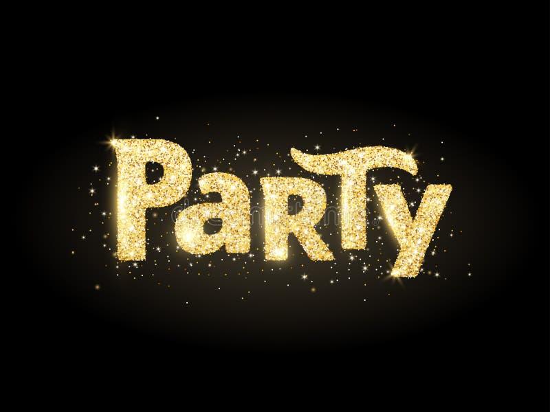 Palavra do partido, bandeira do brilho com tipografia Sparkles dourados no fundo preto ilustração do vetor