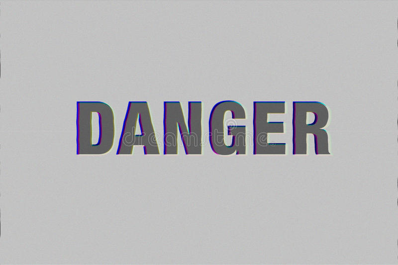 palavra do perigo com efeito do pulso aleatório fotografia de stock royalty free