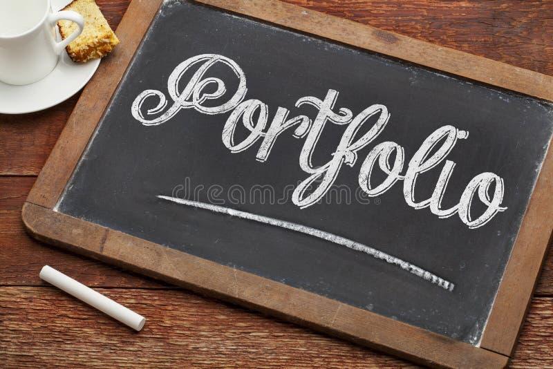 Palavra do portfólio no quadro-negro fotografia de stock