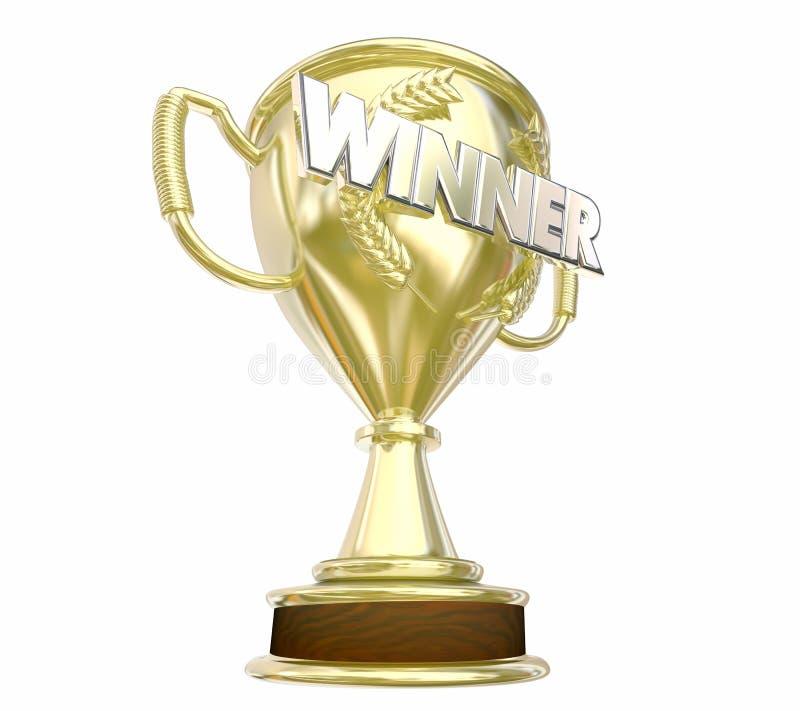 Palavra do prêmio da concessão do troféu do ouro do vencedor ilustração royalty free