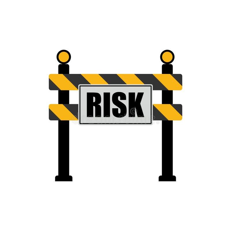 Palavra do risco no sinal de estrada, conceito da barreira da estrada ilustração stock