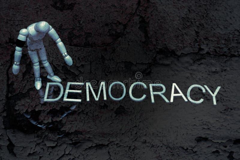 Palavra do título da democracia Processo político Democrática Refletir na política mundial imagens de stock royalty free
