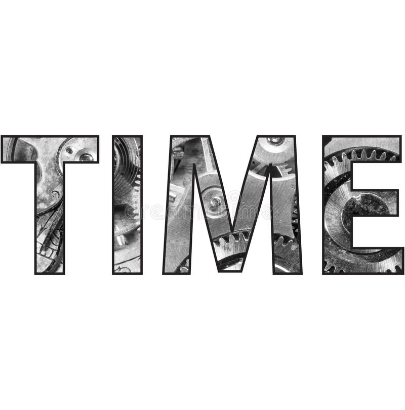 Palavra do texto do tempo com relógio de bolso para dentro fotografia de stock