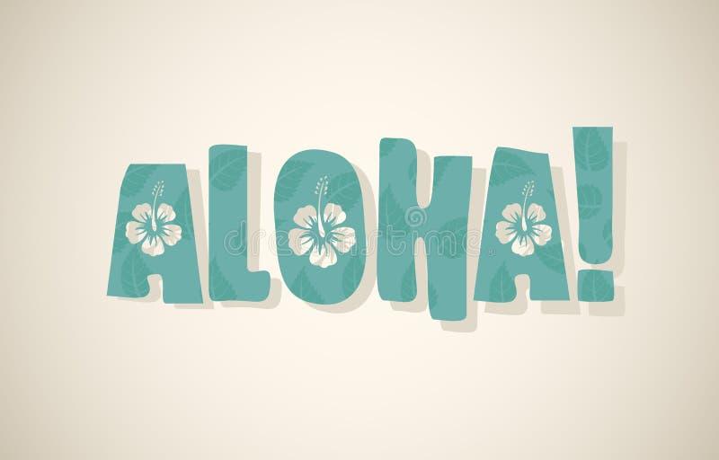 Palavra do vetor aloha em cores retros ilustração do vetor
