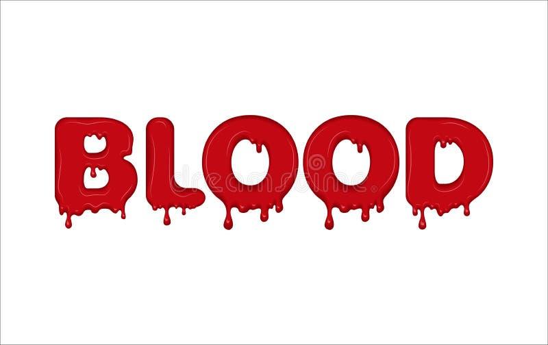 Palavra do vetor feita do sangue ilustração stock
