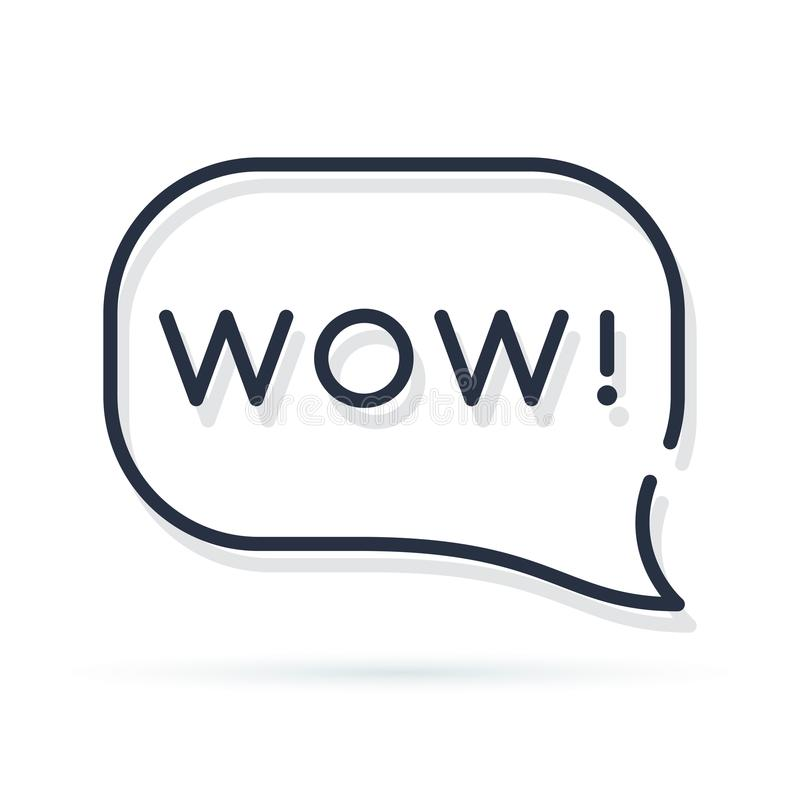 Palavra do wow na bolha do discurso projeto mínimo da etiqueta da arte gráfica do logotype moderno simples liso da tendência do e ilustração royalty free