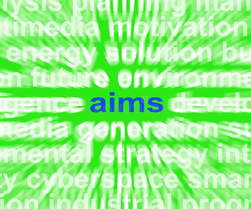 A palavra dos alvos significa o sentido e os objetivos da finalidade ilustração stock