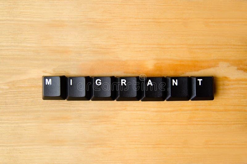 Palavra emigrante foto de stock
