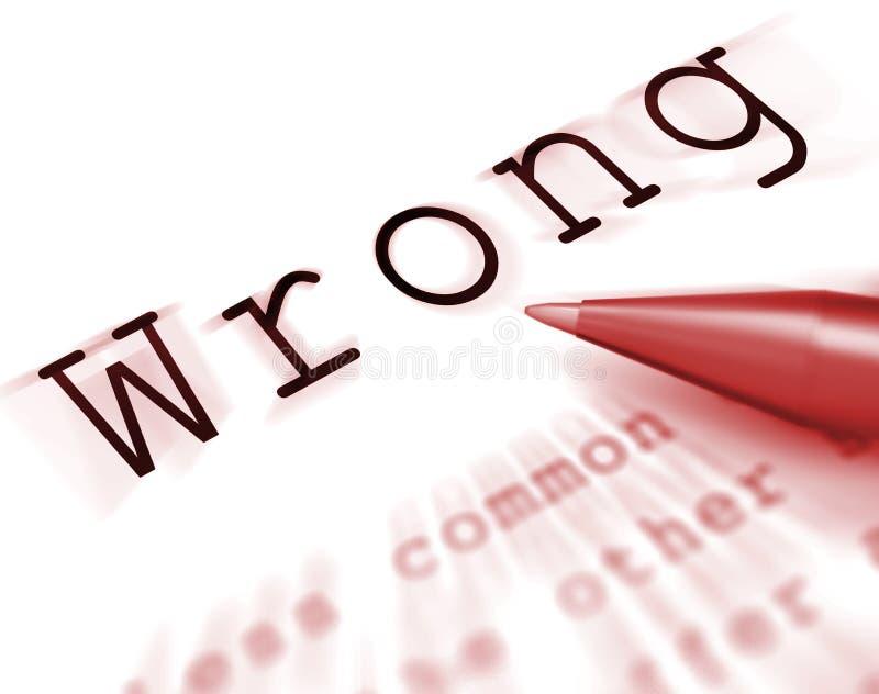 A palavra errada indica mau ou impróprio falso ilustração do vetor