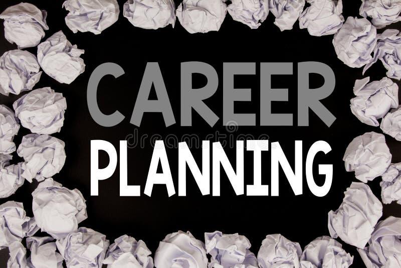 Palavra, escrevendo o planeamento de carreira Conceito do negócio para o ajuste do objetivo do crescimento do negócio escrito no  foto de stock