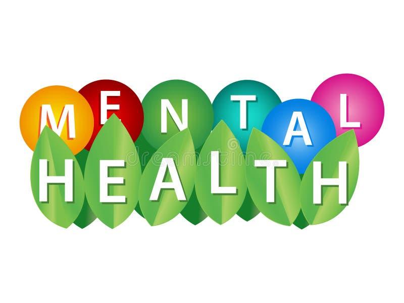 Palavra, escrevendo a saúde mental Conceito da ilustração do vetor para o bem estar sychological e emocional da circunstância de  ilustração stock